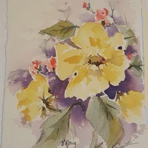 Yellow flower bouquet original watercolor